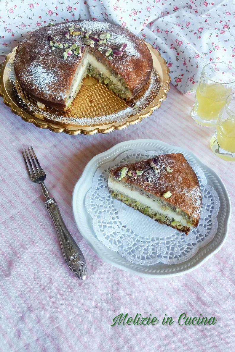 Torta di pistacchi con crema pasticcera