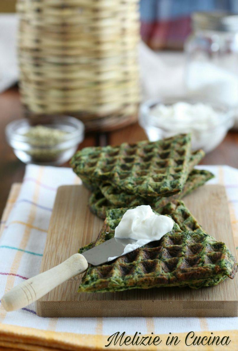 Waffle Salati di Spinaci e Patate