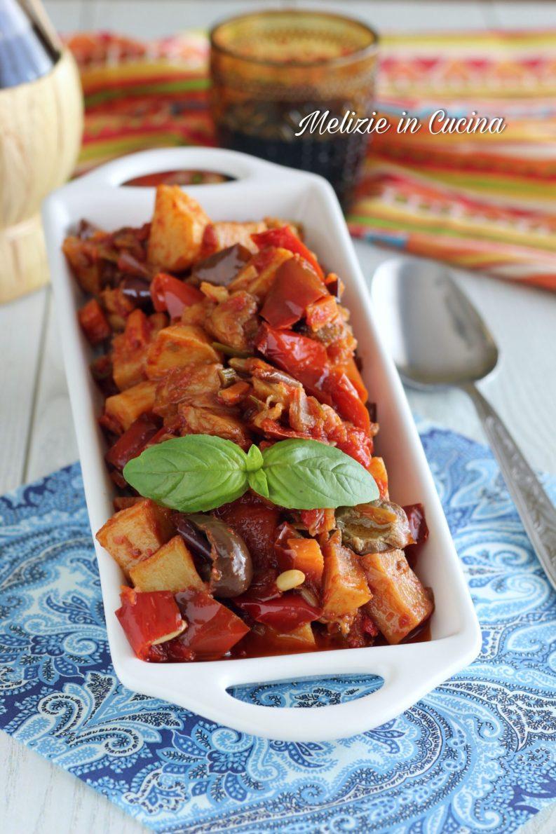 caponata rossa con patate-variante