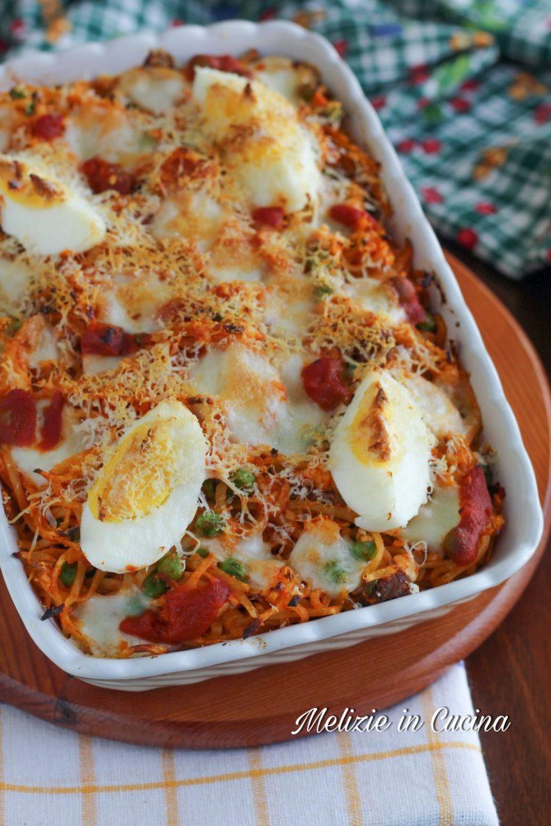 Tagliolini all'uovo al forno filanti